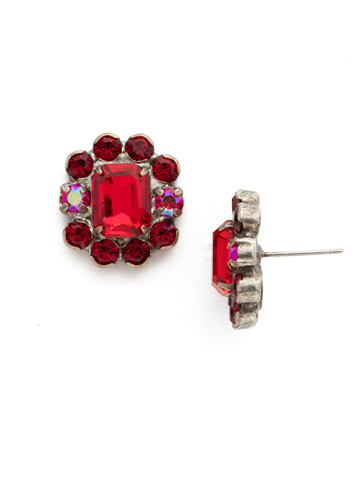 Celosia Post Earring in Antique Silver-tone Red Ruby