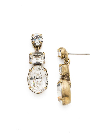 Forget-Me-Not Earring in Antique Gold-tone Crystal
