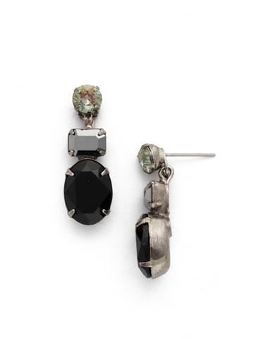 Forget-Me-Not Earring in Antique Silver-tone Black Onyx
