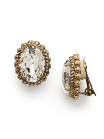 Camellia Clip Earring in Antique Gold-tone Crystal