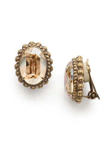 Camellia Clip Earring in Antique Gold-tone Neutral Territory