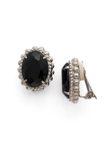Camellia Clip Earring in Antique Silver-tone Black Onyx