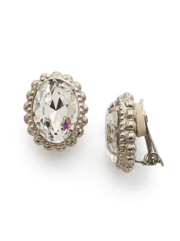 Camellia Clip Earring in Antique Silver-tone Crystal