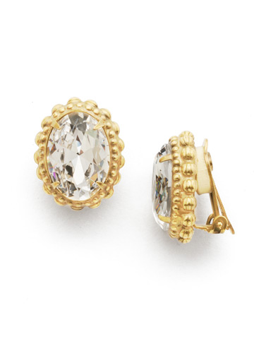 Camellia Clip Earring in Bright Gold-tone Crystal