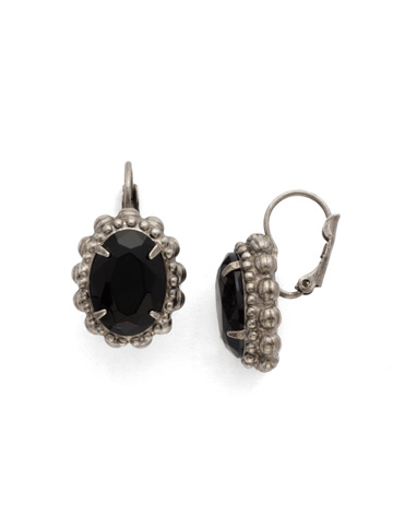 Camellia Earring in Antique Silver-tone Black Onyx