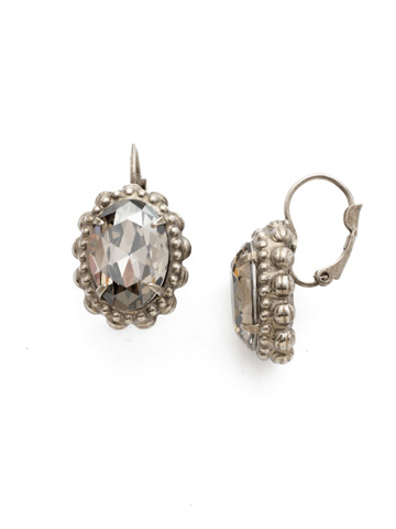 Camellia Earring in Antique Silver-tone Crystal Rock