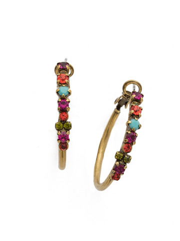 Vinca Earring in Antique Gold-tone Botanical Brights
