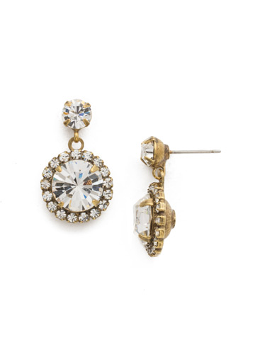 Halo Diamond Drop Earring in Antique Gold-tone Crystal