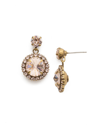 Halo Diamond Drop Earring in Antique Gold-tone Silk