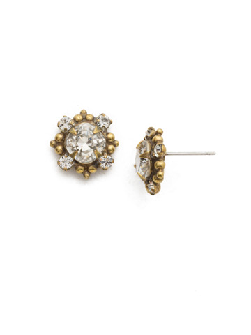 Crystal Diamond Stud in Antique Gold-tone Crystal
