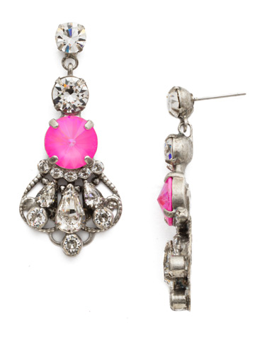 Alstromeria Earring in Antique Silver-tone Pink Mutiny
