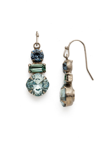 Dianella Earring in Antique Silver-tone Blue Suede