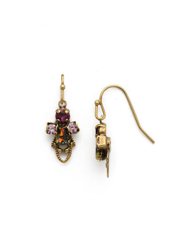 Mallow Earring in Antique Gold-tone Royal Plum