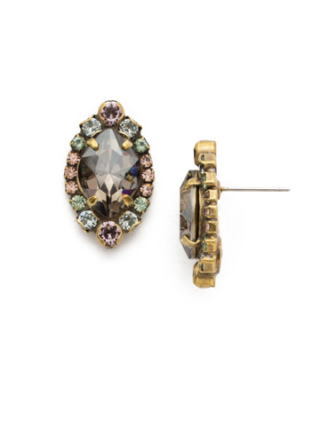 Eustoma Stud Earring in Antique Gold-tone Washed Waterfront