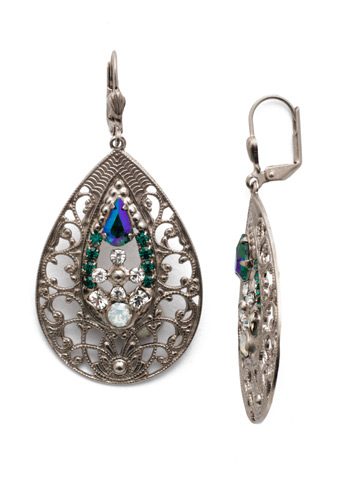 Cosmos Earring in Antique Silver-tone Snowy Moss