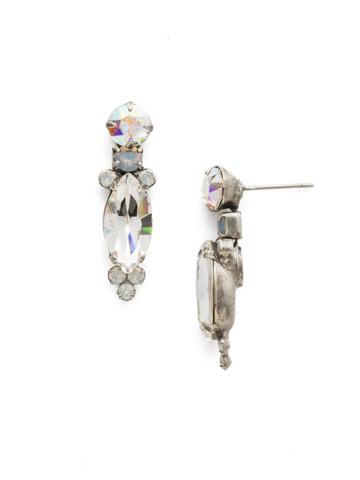 Lantana Earring in Antique Silver-tone White Bridal
