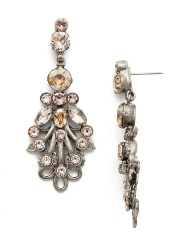 Linden Statement Earring in Antique Silver-tone Satin Blush