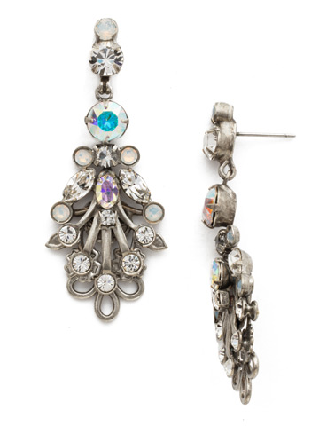 Linden Statement Earring in Antique Silver-tone White Bridal