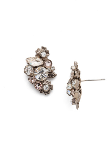 Linden Earring in Antique Silver-tone Soft Petal