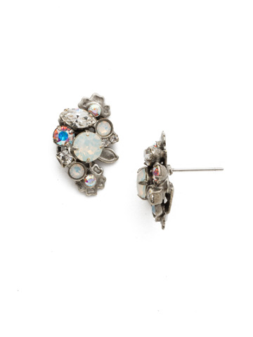 Linden Earring in Antique Silver-tone White Bridal