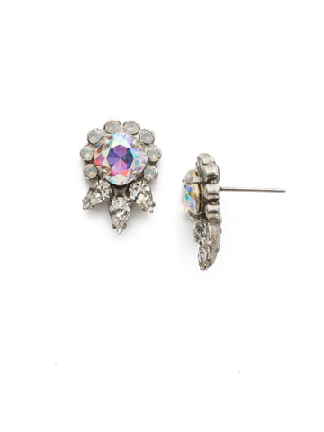 Nepeta Earring in Antique Silver-tone White Bridal