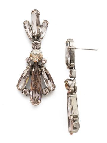 Sedum Statement Earring in Antique Silver-tone Satin Blush