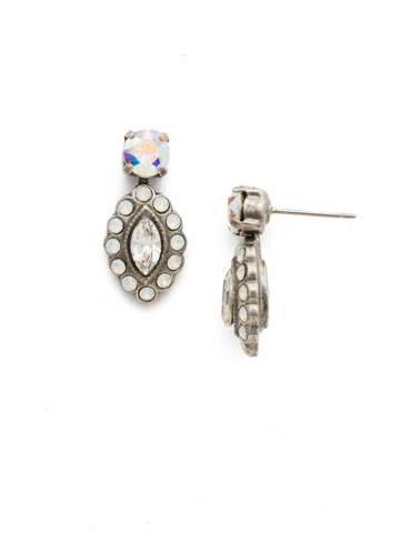 Moonflower Drop Earring in Antique Silver-tone White Bridal