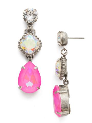 Alder Earring in Antique Silver-tone Pink Mutiny