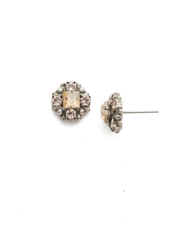 Posey Stud Earring in Antique Silver-tone Satin Blush