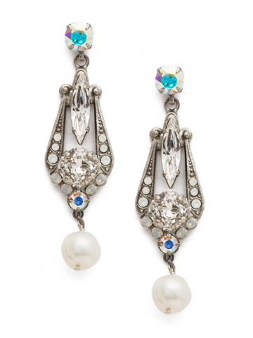 Jonquil Earrings in Antique Silver-tone White Bridal