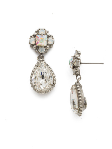 Posey Post Drop Earring in Antique Silver-tone White Bridal