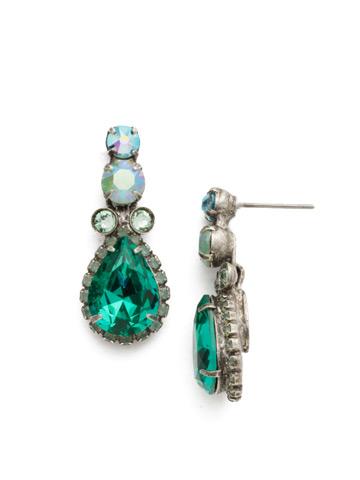 Brugmansia Earrings in Antique Silver-tone Sweet Mint