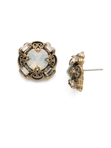 Allium Earrings in Antique Gold-tone White Magnolia