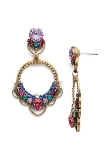 Moonflower Earrings in Antique Gold-tone Wildflower