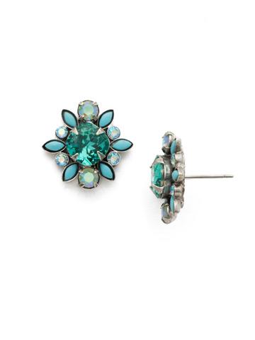 Magnolia Earrings in Antique Silver-tone Sweet Mint