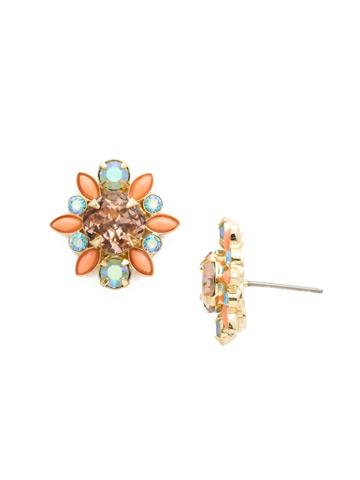 Magnolia Earrings in Bright Gold-tone Mango Tango