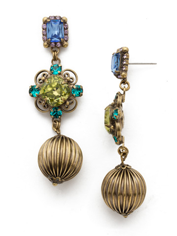 Chrysanthemum Earrings in Antique Gold-tone Wildflower