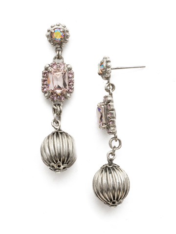 Thistle Earrings in Antique Silver-tone Lilac Pastel