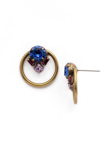 Peony Earrings in Antique Gold-tone Wildflower