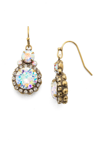 Embellished Rivoli Earring in Antique Gold-tone Snowflake