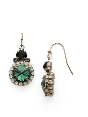 Embellished Rivoli Earring in Antique Silver-tone Game Day Green