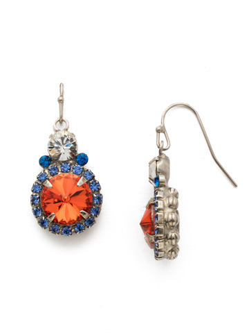 Embellished Rivoli Earring in Antique Silver-tone Orange Crush