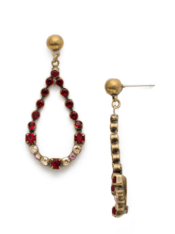 The Skinny Earring in Antique Gold-tone Go Garnet