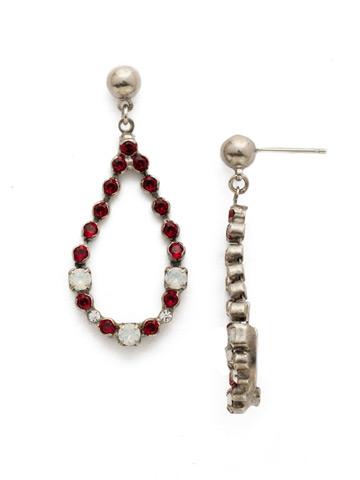 The Skinny Earring in Antique Silver-tone Crimson Pride