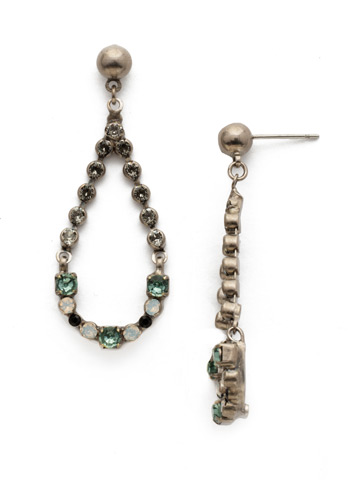 The Skinny Earring in Antique Silver-tone Game Day Green