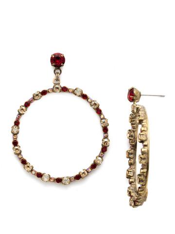 The Sinny Side Set Hoop in Antique Gold-tone Go Garnet