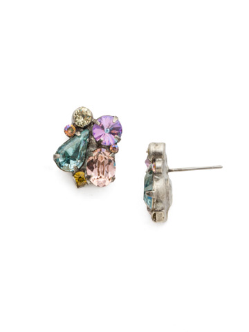 Daffodil Earrings in Antique Silver-tone Lilac Pastel