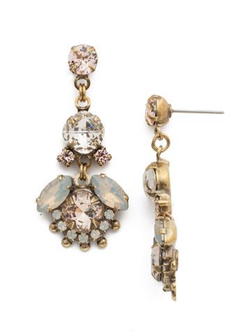 California Poppy Earrings in Antique Gold-tone White Magnolia