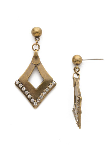 Tri To Love Earring in Antique Gold-tone Crystal