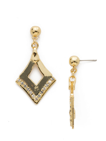 Tri To Love Earring in Bright Gold-tone Crystal